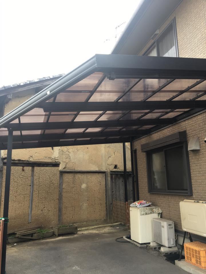 東近江市の造園・外構工事・留守宅管理なら花久造園へ カーポートの屋根の修理